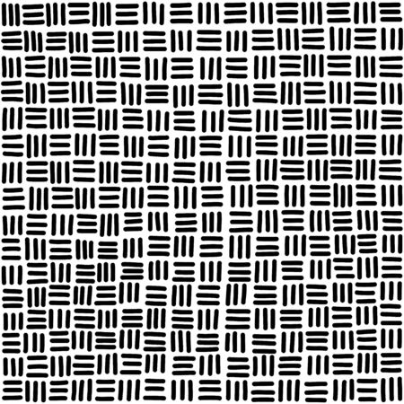 Seamless basketweave pattern tile in black and white. Hand-drawn horizontal and vertical strands, resulting in square pattern, associated with woven baskets. Illustration over white. Vector.