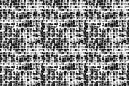 Seamless basketweave pattern background in black and white. Hand-drawn horizontal and vertical strands, resulting in square pattern, associated with woven baskets. Illustration over white. Vector. Vektorgrafik