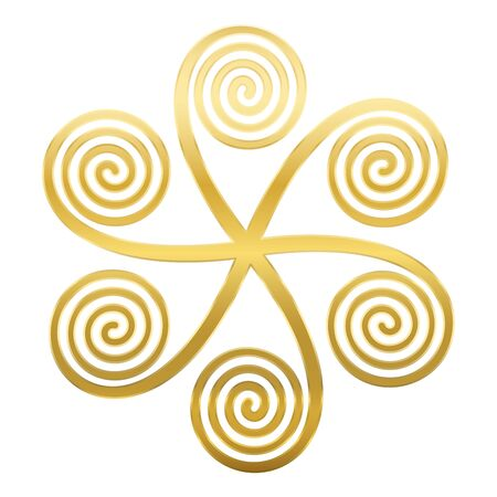 Golden star shaped symbol with six linear arithmetic spirals, made of Archimedean spirals, connected in a center, appearing to rotate clockwise. Vector illustration on white background. 矢量图像