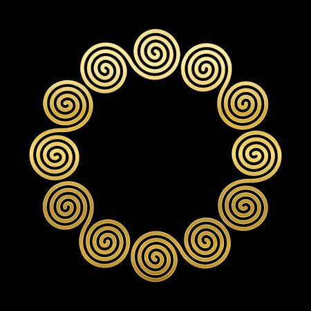 Double spiral frame, golden celtic meander circle. Interlocked combined spirals forming a geometric ancient motif, constructed from repeated lines. Vector on black background.