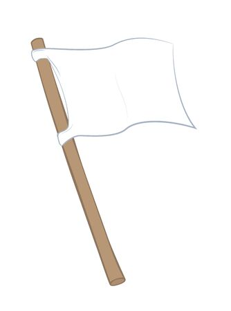 White flag. Waving cloth with wooden pole. Isolated outline comic vector illustration on white.