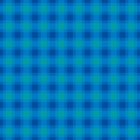Blue and turquoise check pattern, square seamless tile. Also called checker or chequer. Step pattern, a texture used for textiles. Horizontal and vertical lines forming squares. Illustration. Vector.