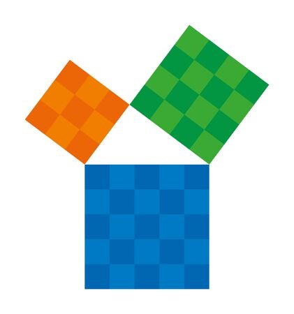 Pythagorean theorem shown with colorful squares. Pythagoras theorem. Relation of sides of a right triangle. The two smaller squares together have the same area than the big one. Illustration. Vector. 일러스트