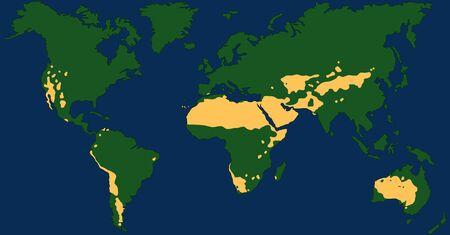 Desert climate world map with greatest deserts like Sahara, Gobi, Kalahari, Arabian, Patagonian and Great Basin Desert. Chart with yellow drought areas. Vector illustration. Vecteurs