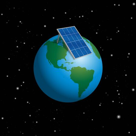 Planet earth with solar plate collector or photovoltaic panel to supply the whole world with electric power. Isolated 3d vector illustration on black starry night background.