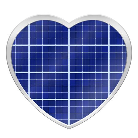 Solar plates collector in a heart shaped frame. Photovoltaic panels symbol - isolated vector illustration on white background. Illustration