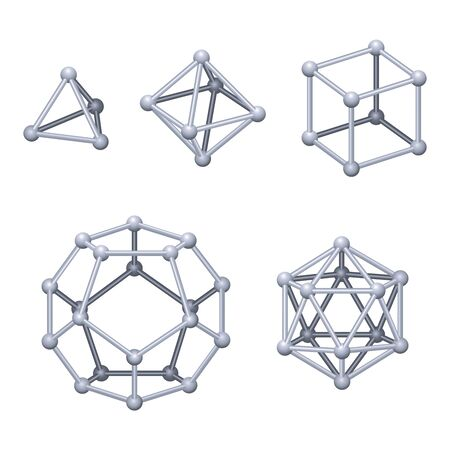 Gray colored Platonic solids 3D. Regular convex polyhedrons in three-dimensional space with the same number of identical faces meeting at each vertex. Isolated illustration on white background. Vector