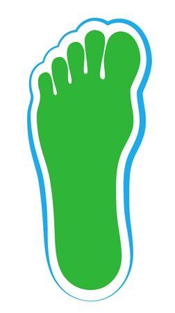 Green footprint, ecological footprint. Symbol for ecology, natural environment and low energy consumption. Natural green logo with water blue frame. Isolated vector on white.