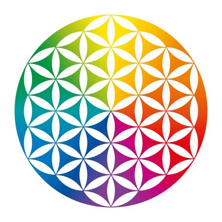 Rainbow colored inverted Flower of Life. Geometrical figure, spiritual symbol and Sacred Geometry. Overlapping circles forming a flower like pattern with symmetrical structure. Illustration. Vector.