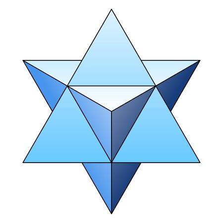 Blue star tetrahedron, also called Merkaba or Mer-Ka-Ba. A stellated octahedron, or stella octangula, can be seen as a 3D extension of the Star of David. Illustration on white background. Vector.