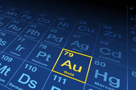 Element gold on the periodic table of elements. Chemical element with the Latin name aurum, symbol Au and atomic number 79, a transition metal. English labeled, yellow and blue illustration. Vector.