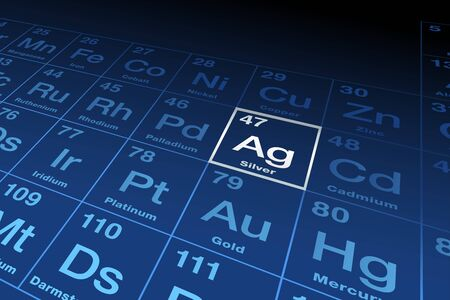 Element silver on the periodic table of elements. Chemical element with Latin name argentum, symbol Ag and atomic number 47, a transition metal. English labeled, gray and blue illustration. Vector.
