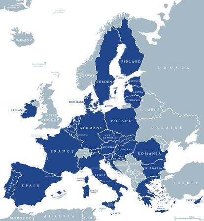 Map of European Union member states after Brexit, English labeling. 27 EU member states, after United Kingdom left. Special member state territories are not included in the map. Illustration. Vector.
