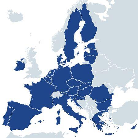 Mitgliedsstaaten der Europäischen Union nach dem Brexit, politische Karte. Die 27 EU-Mitgliedstaaten nach dem Austritt Großbritanniens im Jahr 2020. Besondere Territorien der Mitgliedstaaten sind in der Karte nicht enthalten. Illustration. Vektor