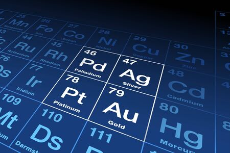 Precious metals on periodic table. Gold, silver, platinum and palladium, chemical elements with a high economic value, also used as currency. Symbols and atomic numbers. English illustration. Vector. Vektoros illusztráció