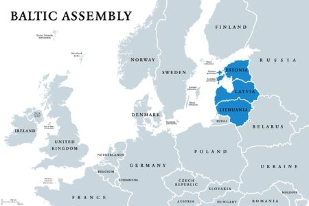 Baltic Assembly (BA) member states political map. Regional organization in Europe promoting intergovernmental cooperation between Estonia, Latvia and Lithuania. English labeling. Illustration. Vector.