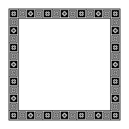 Classical Greek meander, square frame, made of seamless meander pattern. Decorative border with meanders and crosses in black squares. Greek fret or key, meandros. Illustration over white. Vector.