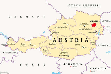 Austria, political map, with the capital Vienna, nine federated states and their capitals. With borders and the neighbor countries. English labeling. Illustration. Vector.