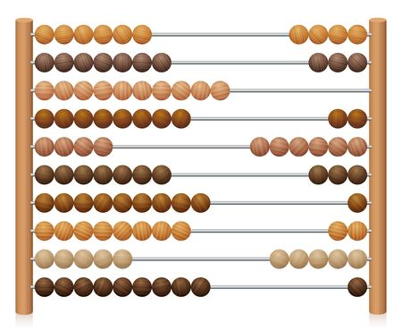 European abacus counting frame. Calculating tool with wooden beads sliding on wires. Used in pre- and in elementary schools as an aid in teaching the numeral system and arithmetic or as toy.
