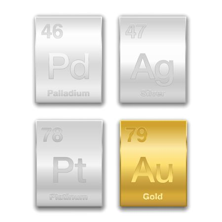 Gold, silver, platinum, palladium on periodic table. Precious metals, chemical elements with a high economic value. Symbols and atomic numbers, golden and silver vector illustration on white.