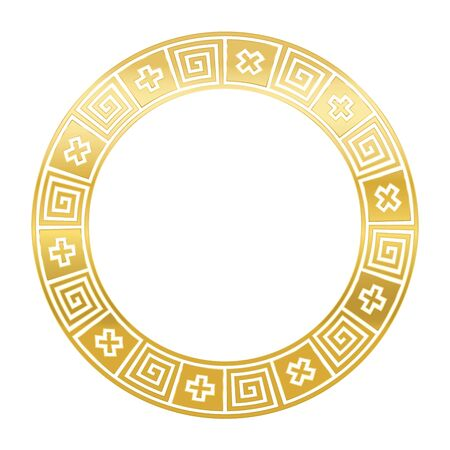 Classical golden Greek meander, circle frame, made of seamless meander pattern. Decorative border with meanders and crosses in black squares. Greek fret or key, meandros. Illustration over white. 矢量图像