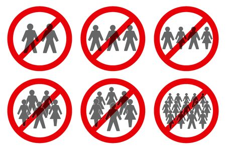Ban on gathering symbols. Prohibition of assembly for two, three, four, five, six or more people. Isolated vector illustration on white background.