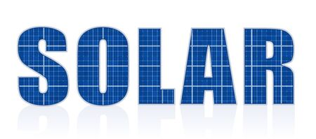Solar cell letters - photovoltaic panels word - isolated vector illustration on white background.