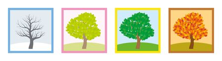 Four seasons. Trees in winter, spring, summer and fall with different foliage in typical colors and shades while the leaves turn throughout the course of a year.