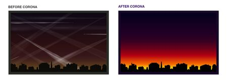 Contrails before and after coronavirus - air and light pollution caused by many condensation trails of airplanes - polluted atmosphere and beautiful morning or evening mood.