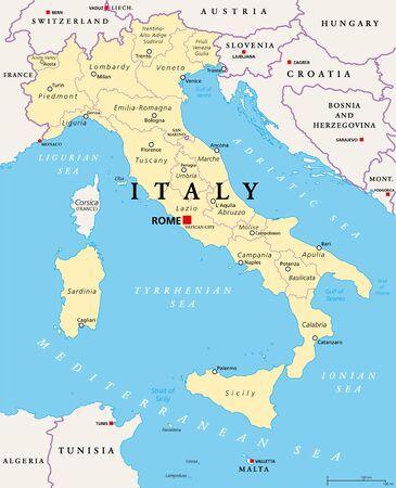 Italie, carte politique, divisions administratives. République italienne avec pour capitale Rome, 20 régions et leurs capitales, frontières internationales et pays voisins. Etiquetage anglais. Illustration. Vecteur.