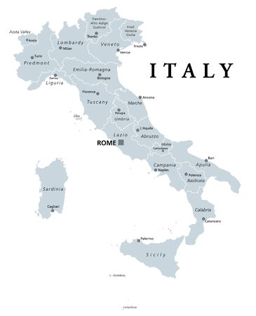 Italy, gray political map with administrative divisions. Italian Republic with capital Rome, 20 regions, their borders and capitals. English labeling. Isolated illustration on white background. Vector