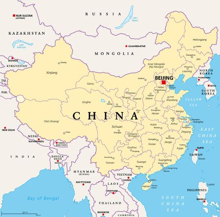 China, political map, with administrative divisions. PRC, People's Republic of China, capital Beijing, provinces with capitals, borders and neighbor countries. English labeling. Illustration. Vector.