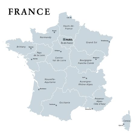 France, gray political map. Regions of Metropolitan France. French Republic, capital Paris, administrative regions and prefectures on the mainland of Europe. English. Illustration over white. Vector.