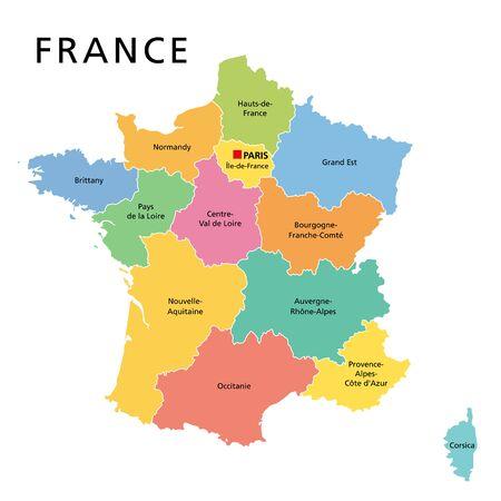 Francja, polityczna mapa z wielokolorowymi regionami metropolitalnej Francji. Republika Francuska, stolica Paryż, regiony administracyjne i prefektury na kontynencie europejskim. Język angielski. Ilustracja. Wektor. Ilustracje wektorowe