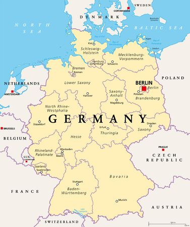 Germany, political map. States of the Federal Republic of Germany with capital Berlin and 16 partly-sovereign states. Country in Central and Western Europe. English labeling. Illustration. Vector.