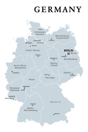 Germany, gray political map. States of the Federal Republic of Germany with capital Berlin and 16 partly-sovereign states. Country in Central and Western Europe. English labeling. Illustration. Vector Illustration