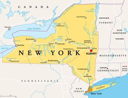 New York State (NYS), political map, with capital Albany, borders, important cities, rivers and lakes. State in the Northeastern United States of America. English labeling. Illustration. Vector. Ilustração