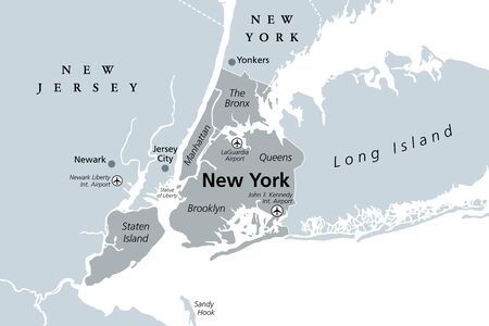 New York City gray political map. Most populous city in the United States located in the state of New York. Manhattan, Bronx, Queens, Brooklyn and Staten Island. English labeling. Illustration. Vector