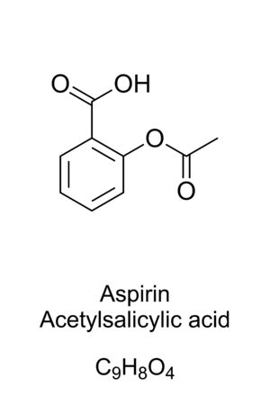 Aspirin, formula and molecular structure. Acetylsalicylic acid, ASA. Medication used to reduce pain, fever or inflammation. One of most widely used medications globally. English. Illustration. Vector. 일러스트