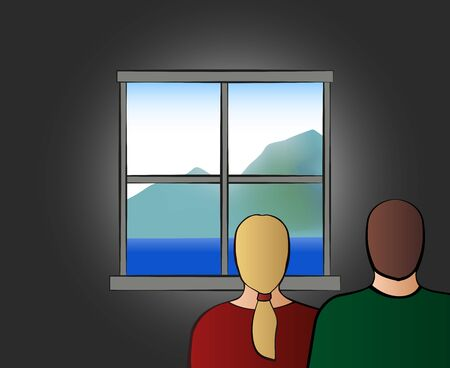 Home quarantine. Confined couple at home looking out of the window. Vector illustration.