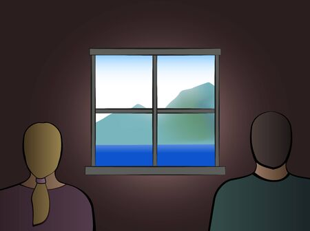 Quarantine at home. Frustrated couple waiting for freedom and looking out of the window. Vector illustration.