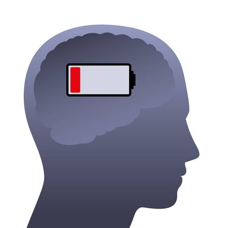 Cerveau humain avec batterie faible. Tête vide à faible puissance, symbolique du stress, de la dépression, de l'épuisement professionnel, de la frustration, de la fatigue, de l'humeur mentale négative ou du manque de concentration.