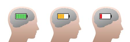 Full, half full and empty battery in a human head. Symbol for mental energy reduction, decreasing concentration, learning time, waning success or negative mental mood.