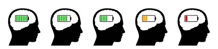 Outline heads with full green, low orange and empty red battery level. Icons with different amount of mental energy. Isolated vector illustration on white background. Çizim