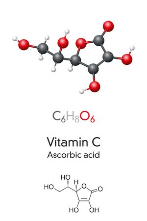 Vitamin C molecule model and chemical formula. Ascorbic acid, ascorbate, skeletal formula and molecular structure. Vitamin found in various foods and sold as a dietary supplement. Illustration. Vector