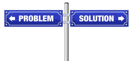 PROBLEM and SOLUTION written on blue street signs. Isolated vector illustration on white background.