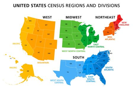 Map of United States split into Census regions and divisions. Region definition, widely used for data collection and analysis. Most commonly used classification system. English. Illustration. Vector