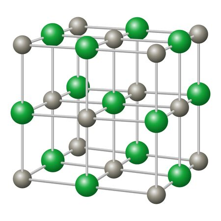 Sodium chloride, NaCl crystal structure with sodium in gray and chloride in green. Chemical compound, edible as table salt, a condiment and food preservative. Illustration in white background. Vector.