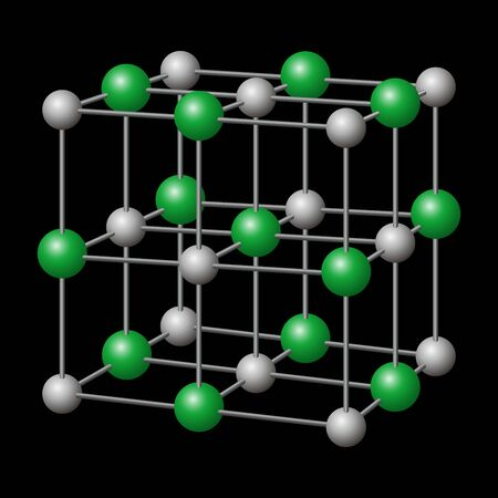 Sodium chloride, NaCl crystal structure with sodium in gray and chloride in green. Chemical compound, edible as table salt, a condiment and food preservative. Illustration in black background. Vector.