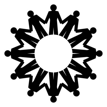 People holding hands and standing in a circle. Abstract symbol of connected people forming a circle to express friendship, love and harmony. We are one world. Black and white illustration. Vector. Vectores